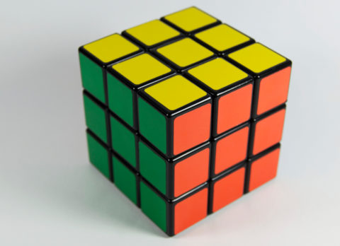 A solved rubik's cube.